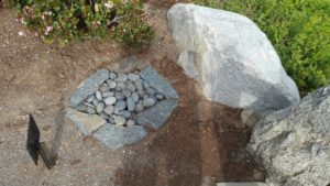 Water is represented with using tumbled stones in a walkway.